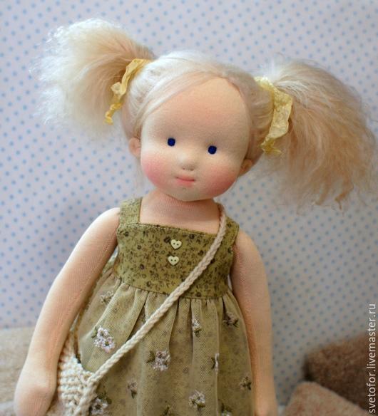 Вальдорфская игрушка ручной работы. Ярмарка Мастеров - ручная работа. Купить Лия, 40 см. Handmade. Салатовый, текстильная кукла
