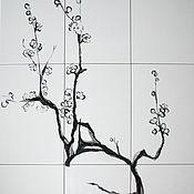 """Дизайн и реклама ручной работы. Ярмарка Мастеров - ручная работа Роспись плитки """"Сакура"""". Handmade."""
