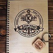 Канцелярские товары handmade. Livemaster - original item Notepad, wooden notebook with engraving keychain made of wood. Handmade.