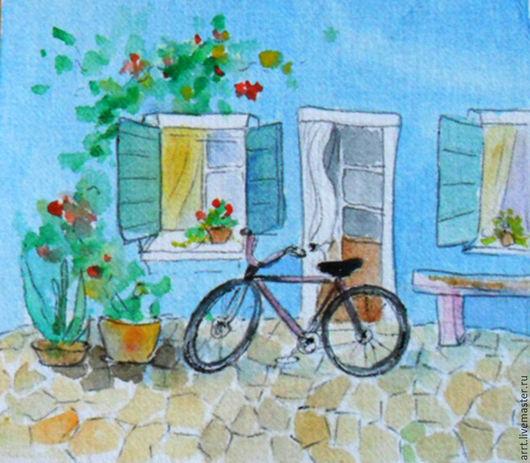 Город ручной работы. Ярмарка Мастеров - ручная работа. Купить Мурано. Велосипед Маленькая акварель. Handmade. Комбинированный, домики