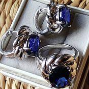 Кольца винтажные ручной работы. Ярмарка Мастеров - ручная работа Серьги кольцо сапфиры серебро комплект. Handmade.
