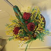"""Цветы и флористика ручной работы. Ярмарка Мастеров - ручная работа Корзинка с цветами """" с 8 марта"""". Handmade."""