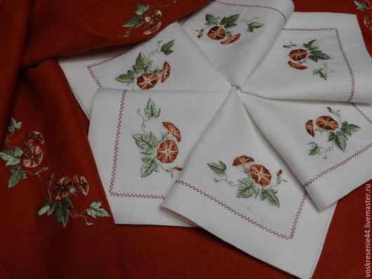 Текстиль, ковры ручной работы. Ярмарка Мастеров - ручная работа. Купить Скатерть и салфетки  льняные Вьюнок. Handmade. Коричневый
