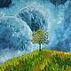 Символизм ручной работы. Ярмарка Мастеров - ручная работа. Купить Картина маслом - Луг. Handmade. Бирюзовый, дерево, планета, фантазия
