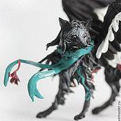 """Куклы и игрушки ручной работы. Ярмарка Мастеров - ручная работа фигурка """"черная лиса"""" (черная крылатая лиса, черный крылатый волк). Handmade."""