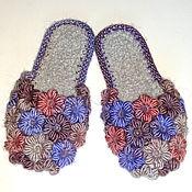 Обувь ручной работы. Ярмарка Мастеров - ручная работа Тапочки вязаные  Клумба в пастельных тонах. Handmade.