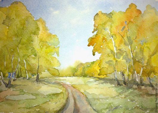 Пейзаж ручной работы. Ярмарка Мастеров - ручная работа. Купить Осенний лес. Handmade. Желтый, лес, березы, осень