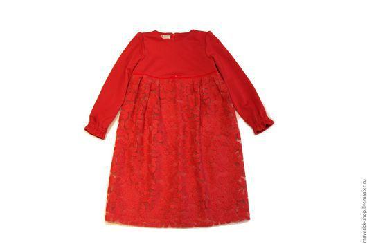 Одежда для девочек, ручной работы. Ярмарка Мастеров - ручная работа. Купить Красное теплое  платье для девочки из джерси и с вышивкой на органзе. Handmade.
