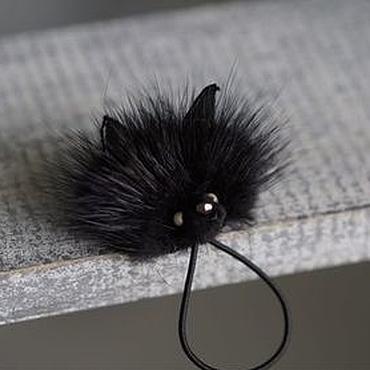 Works for children handmade. Livemaster - original item Elastic hair band with mink fur. Handmade.