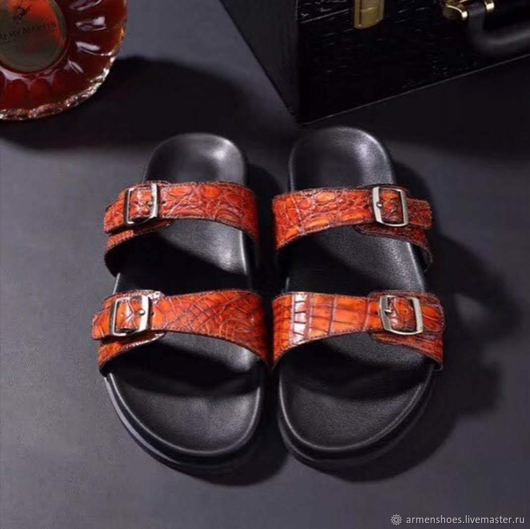 Crocodile leather sandals, summer casual shoes, Sandals, Tosno,  Фото №1