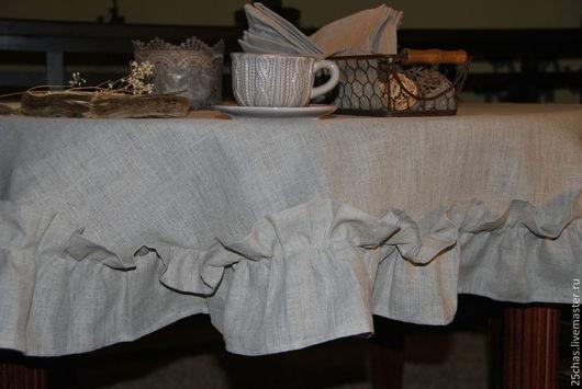 Текстиль, ковры ручной работы. Ярмарка Мастеров - ручная работа. Купить Эко-скатерть изо льна. Handmade. Серый, оборки