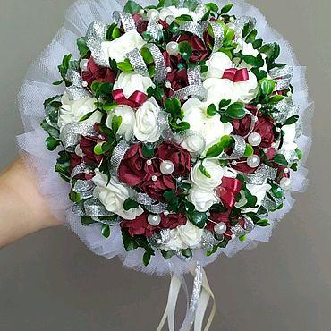 Свадебный салон ручной работы. Ярмарка Мастеров - ручная работа Букет, букет дублер для невесты в цвете марсала. Handmade.