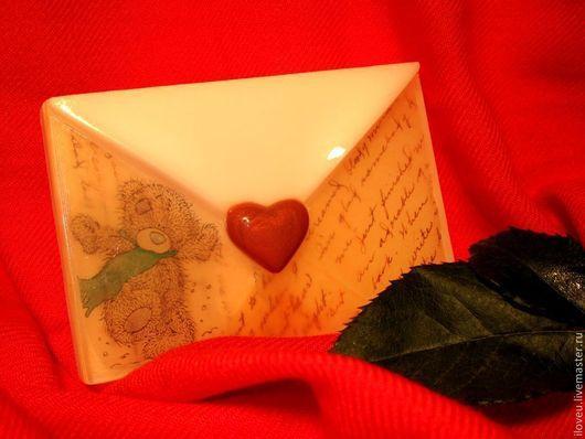 """Мыло ручной работы. Ярмарка Мастеров - ручная работа. Купить Мыло ручной работы """"Мишка Тедди"""" (конверт, сердце, красный, белый). Handmade."""