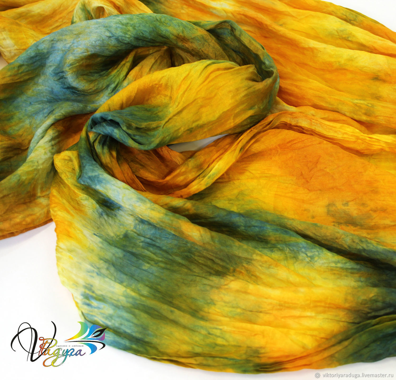 Яркий, желто-зелено-синий шелковый шарф, батик – купить на Ярмарке Мастеров – H7FIBRU | Шарфы, Славск