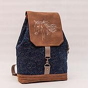 Рюкзаки ручной работы. Ярмарка Мастеров - ручная работа Джинсовый рюкзак Лошадь школьный, городской. Handmade.