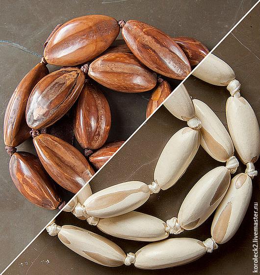 Для украшений ручной работы. Ярмарка Мастеров - ручная работа. Купить Бусины из ореха Пили, коричневые и светлые. Handmade. Бусины
