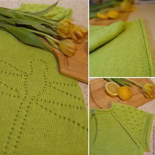 Одежда для девочек, ручной работы. Ярмарка Мастеров - ручная работа. Купить Платье со стрекозой. Handmade. Салатовый, платье вязаное