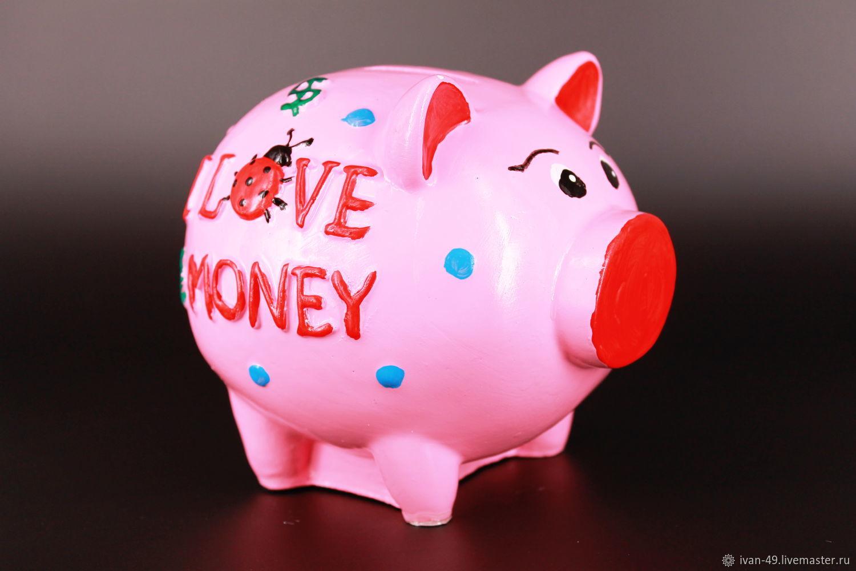 "Копилка: Свинка ""i love money"", Копилки, Кемерово,  Фото №1"
