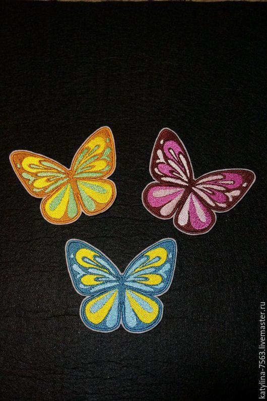 Аппликации, вставки, отделка ручной работы. Ярмарка Мастеров - ручная работа. Купить Нашивка Бабочка. Handmade. Комбинированный, бабочка, наклейки