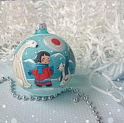 """Подарки к праздникам ручной работы. Ярмарка Мастеров - ручная работа Елочный шар """"Умка"""". Handmade."""