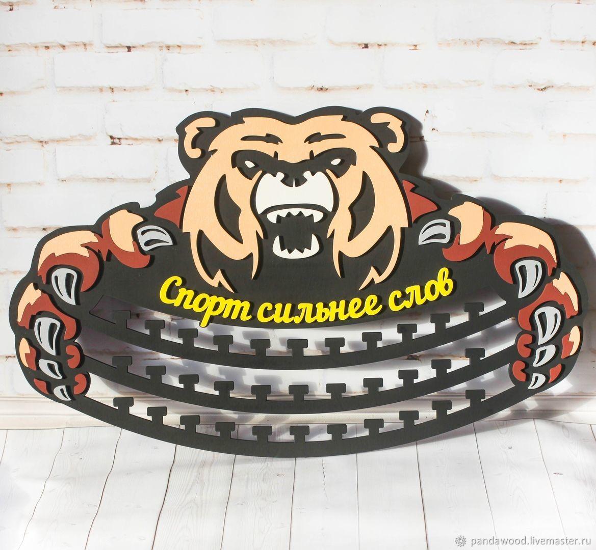 """Фоторамки ручной работы. Ярмарка Мастеров - ручная работа. Купить Медальница """"медведь"""" - спорт сильнее слов. Handmade. Награда, победа"""