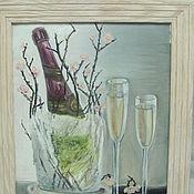Картины и панно ручной работы. Ярмарка Мастеров - ручная работа Шампанское в куске льда. Handmade.