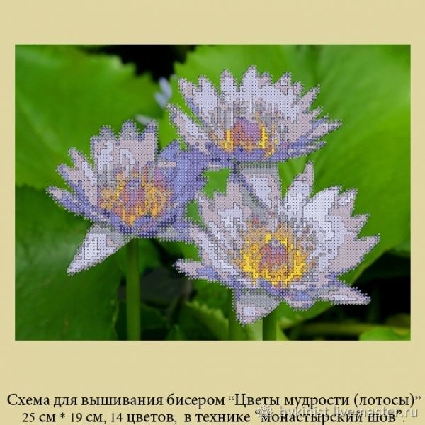 The scheme for embroidery: ' Flowers of wisdom(the Lotus), Patterns for embroidery, Schyolkovo,  Фото №1