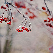 Картины и панно handmade. Livemaster - original item Photo pictures Rowan flaming on a white, snowy blanket Dec.... Handmade.