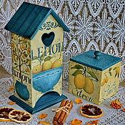 """Для дома и интерьера ручной работы. Ярмарка Мастеров - ручная работа """"Лимонный бурбон""""-чайный домик и короб для сладостей. Handmade."""