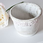 Цветы и флористика handmade. Livemaster - original item The average pot for flowers made of concrete with a pattern of Roses, Provence Vintage. Handmade.