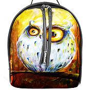 Рюкзак женский кожаный с ручной росписью из кожи Осенняя сова.