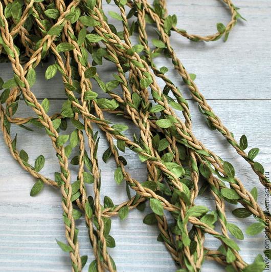 Шпагат декор с листьями 1 метр, 2169