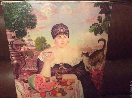Натюрморт ручной работы. Ярмарка Мастеров - ручная работа. Купить Картина в подарок Купчиха за чаем. Handmade. Разноцветный, женщина