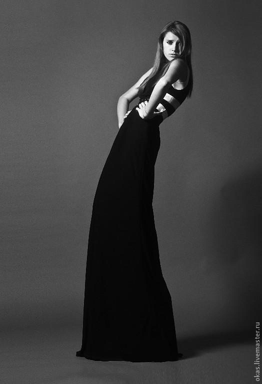 Платья ручной работы. Ярмарка Мастеров - ручная работа. Купить Платье с отделкой.. Handmade. Однотонный, черный, длинное платье