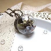 Украшения handmade. Livemaster - original item Transparent Ball Pendant Sphere with Berries and Lichen rustic World Inside. Handmade.