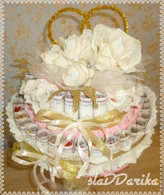 Подарки на свадьбу ручной работы. Ярмарка Мастеров - ручная работа. Купить Подарок на свадьбу. Handmade. Комбинированный, торт из конфет