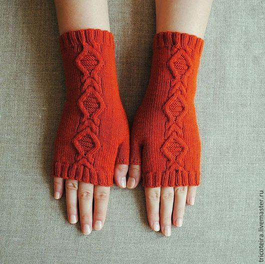 Варежки, митенки, перчатки ручной работы. Ярмарка Мастеров - ручная работа. Купить Митенки вязаные с аранами. Handmade. Рыжий