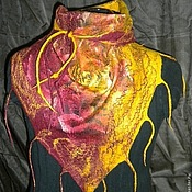 Аксессуары handmade. Livemaster - original item Scarf Bacchus felted rose and saffron. Handmade.