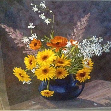 Картины и панно ручной работы. Ярмарка Мастеров - ручная работа Желтые цветы натюрморт, масло, холст. Handmade.