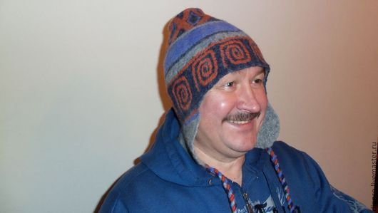 """Шапки ручной работы. Ярмарка Мастеров - ручная работа. Купить Валяная мужская шапка """"И снег и ветер..."""". Handmade."""
