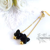Украшения handmade. Livemaster - original item Long earrings gold plated with black Swarovski butterflies. Handmade.