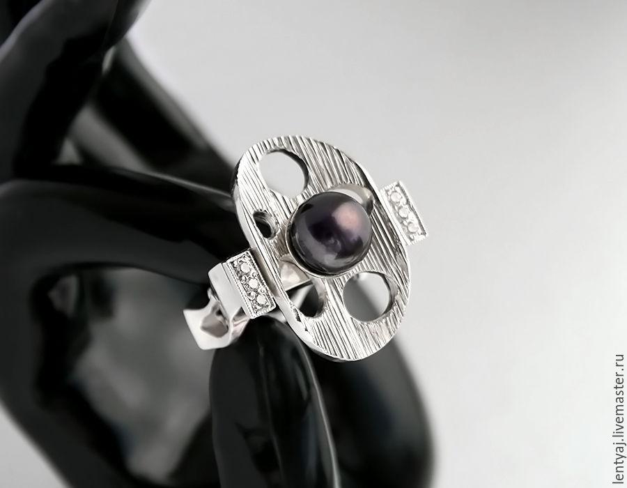 Серебряное кольцо с черным жемчугом, Кольца, Пенза, Фото №1