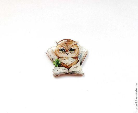 """Броши ручной работы. Ярмарка Мастеров - ручная работа. Купить Брошь """"Совушка и книга"""" (0014). Handmade. Белый, совы, совенок"""
