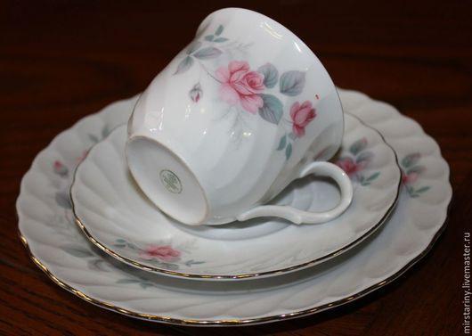 Винтажная посуда. Ярмарка Мастеров - ручная работа. Купить Красивая чайная тройка, с нежными розами, Schirnding, Германия, 1970+. Handmade.