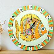 Для дома и интерьера handmade. Livemaster - original item Children`s wall clock Orange Fish, hand-painted. Handmade.