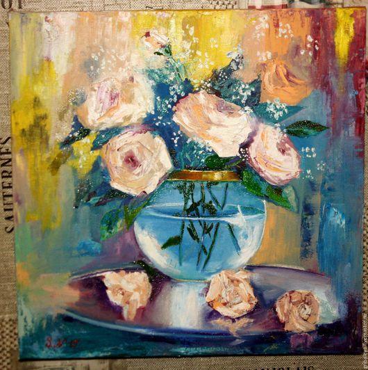 Картины цветов ручной работы. Ярмарка Мастеров - ручная работа. Купить Картина маслом Нежность роз Шебби  40 на 40 см на подрамнике. Handmade.