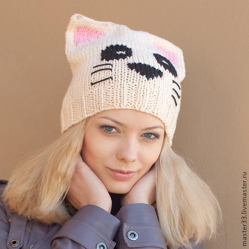 Шапки ручной работы. Ярмарка Мастеров - ручная работа. Купить шапочка-кошка. Handmade. Чёрно-белый, 1 апреля 2014