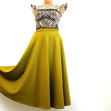 Одежда ручной работы. Ярмарка Мастеров - ручная работа Юбки: Горчичная желтая юбка полусолнце из шерсти длинная на зиму. Handmade.