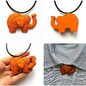 """Украшения ручной работы. Ярмарка Мастеров - ручная работа Оранжевый кулон """"Оранжевый слон"""" из полимерной глины. Handmade."""