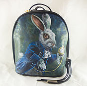 Womens designer backpack from a genuine print Portrait Darling ... 3bf3560192538